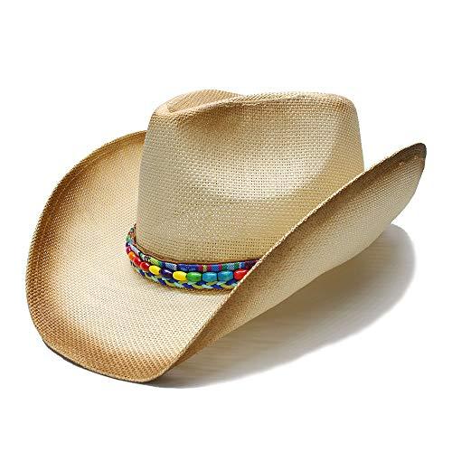 TMalan Sombrero Hombre Cowgirl Jazz Frauen Stroh Western Cowboy-Hut mit farbigen Perlenkette Handmade Webart Lady Dad (Farbe : Natürlich, Größe : 58 cm)