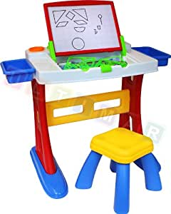 Children learning desk with stool - Desk for Kids - Spelling learning - Fostering children's learning ability - Desk with double-sided board and accessories