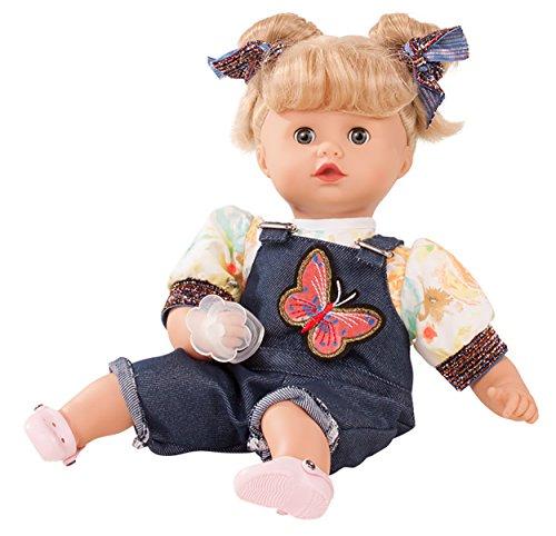 Götz 1820924 Muffin Macaron Puppe - 33 cm große Babypuppe mit blonden Haaren und blauen Schlafaugen - Weichkörperpuppe in 8-teiligen Set