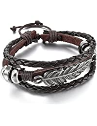 MunkiMix Alloy Leather Bracelet Bangle Cuff Silver Tone Black Brown Angel Wing Feather Adjustable Fit 7~9 inch Men,Women
