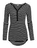 Meaneor Damen T-shirt Top 3/4 Arm Sommer Tops V-Ausschnitt Casual Gestreiftes Langarmshirt mit Knöpfen, Schwarze Streifen, EU 40(Herstellergröße: L)