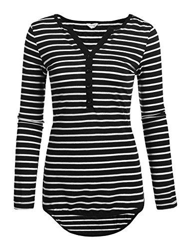 Meaneor Damen T-shirt Top 3/4 Arm Sommer Tops V-Ausschnitt Casual Gestreiftes Langarmshirt mit Knöpfen, Schwarze Streifen, EU 42(Herstellergröße: XL)
