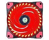 CONISY Ultra Silencieux PC 120 mm LED Ventilateur Refroidissement de Ordinateur - Single Pack Rouge