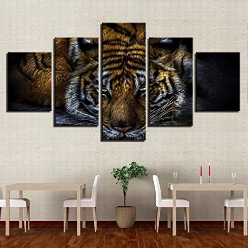 WEPAINT Malerei Rahmen Moderne Leinwand HD Print Wandkunst Bilder 5 Stücke Tier Tiger Modulare Poster Für Wohnzimmer Dekoration 20X35_20X45_20X55cm_no_Frame - Modulare Lounge