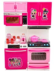 Toyify Playing Kitchen Toy Set for Girls with 2 Compartment of Openable Doors with Light and Sound Girls Toys ( Kids Gift | Kitchen Set for Girls | Birthday Gifts for Girl )