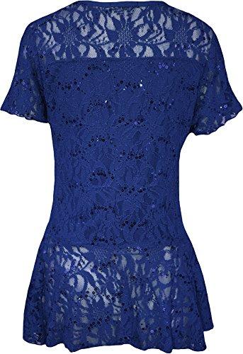 WearAll - Grande taille dentelle paillettes haut à péplum et manches courtes - Hauts - Femmes - Tailles 42 à 56 Bleu Royal