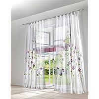 Voile dekoschal transparente 2er Pack Gardine cortina kräuselband o presillas