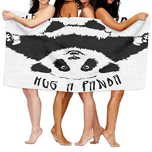 PEKBUS Wxf Black and White Funny Animal Mascot Keep Calm and Hug A Panda Motivational Quote Soft Fast Drying Beach Towel Pool Towel 30x50