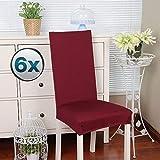 Coprisedie con schienale 6 pezzi Elasticizzato Copertura della sedia bi-elastico per una misura universale, Coppia spandex Coprisedia molto facile da pulire e di lunga durata (6 pezzi,Bordò Rosso)