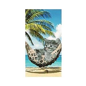 Serviette de plage Chat dans hamac, 100% coton 75 x 150 cm