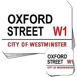 Attrazioni Famose Di Londra Street Sign Set di 4tovagliette e sottobicchieri, Acrilico, Oxford Street W1 Westminster, 4 Placemats & 4 Coasters