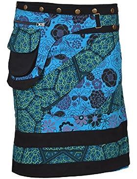 Falda de algodón de las mujeres Falda de botón de estampado floral Warp Mini falda