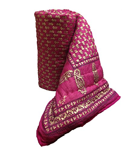 Mharo Rajasthan Traditional Pink Jaipuri Rajai/ Razai/ Quilt Single Side Printed - Single bed