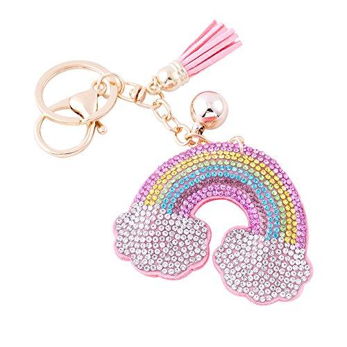 e Rosa Keychain Bling Kristallstrass Taschen Koffer Rucksäcke Zubehör Charm Auto Schlüsselanhänger Schlüsselring mit Quasten für Damen Mädchen (Regenbogen) ()