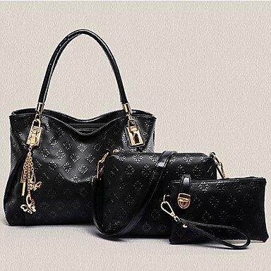 Le donne di vacchetta Esterni / Ufficio & Carriera Set borsa,Bianco Dark Gray