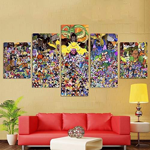 FJLOVE Bild auf Leinwand Dragon Ball Mehrere Rollen 5 Teilig modern Wanddekoration Wand Canvas Die Bilder Kunstdruck ist fertig gerahmt,WoodenFramed+B,100x50cm