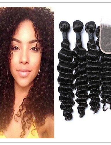 Jff/4 pcs/lot péruvien Cheveux Vierges Cheveux frisés Lots avec top en dentelle Fermeture Extensions de cheveux humains 100% Nature Cheveux Tissages, 28 30 32 & 26-3 part