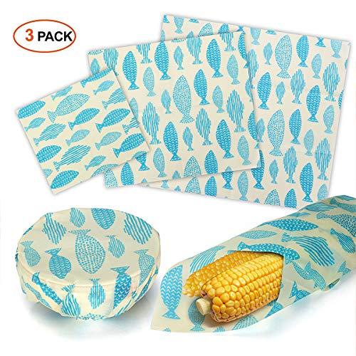 Bienenwachstücher Wachspapier für Lebensmittel,3er-Pack Bees Wax Food Wrap,Wiederverwendbare, Umweltfreundliche, Abfallfreie Bienenwachstuch Verpackung für die Lagerung von Lebensmitteln (Wrap Papier Lagerung)