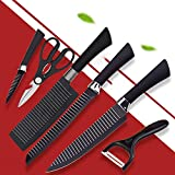ASkyl 6pcs Nonstick Stainless Steel Knife Set for Kitchen Black with Sharp Chef