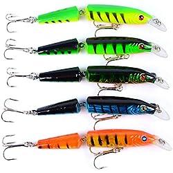 5 colores de pesca señuelos articulados plástico multi-Bait crankbaits kits adecuados para el mar, río, lago, para la trucha, Lucio, perca, carpa y Zander
