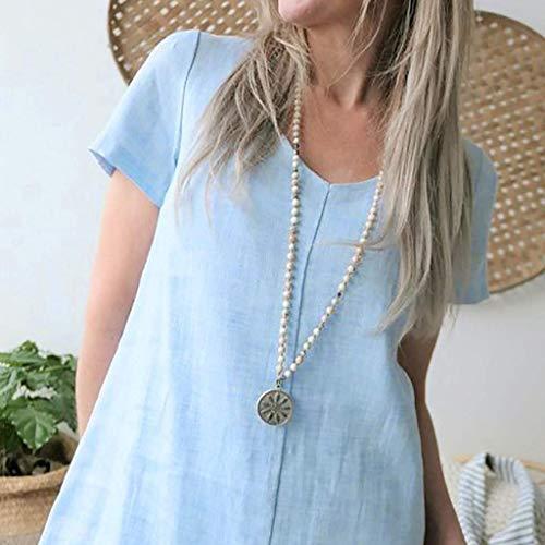 Sandy Kostüm Kleid Gelb - Vimoli Röcke Tops Hemden Frauen Reine Farbe Kurzarm Baumwolle und Leinen Sandy Beach Minikleid Kleid(Weiß,3XL)