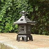 DEG Chandelier en Aluminium Ornement De Jardin De Pagoda Lanterne Chinoise/Japonaise Pierre Décoration Black-H:19cm