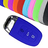 Muchkey for Audi A1 A3 A4 A4L A6L A5 A7 A8 Q3 Q5 S5 S4 S6 3 Buttons Key Case Silicone Key Cover 1PC (Blue)