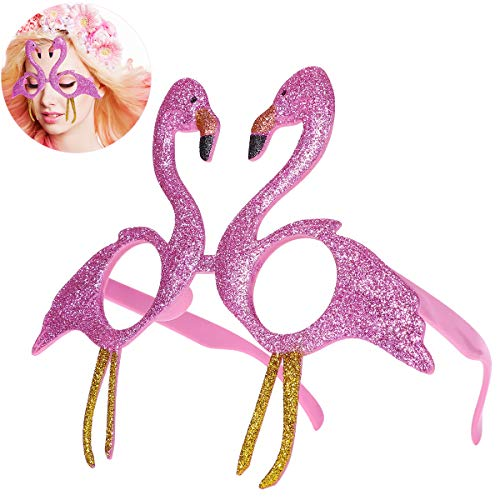 Amosfun Neuheit Glittered Pink Flamingo Dekoration Fanci-Frames Party Zubehör Brillen Parodie Party Halloween-Kostüme