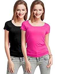 Fashion Line Premium Quality Stylish Printed Round Neck T Shirts For Women _Color : Black and Pink _Material : Cotton (Pack of 2 )