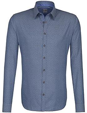 Seidensticker Herren Langarm Hemd Schwarze Rose Slim Fit Modern Kent Patch2 Print blau strukturiert 243256.17
