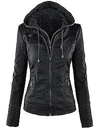 5480edb90cdd Newbestyle Femme à Capuche Veste en Cuir Manches Longues Courte Blousons  Fermeture éclair Moto Style Manteau