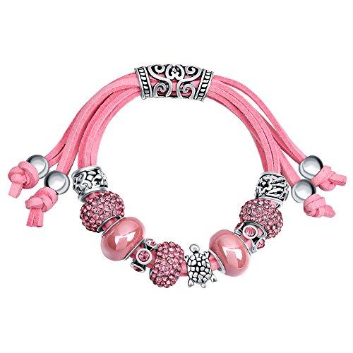 MANBARA rosa azul marino perlas vidrio tortuga pulsera