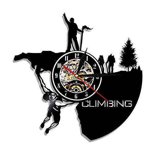 Meet Beauty Wanduhr für Klettern, modern, sportlich, Vinyl-Plattenuhr, Handgefertigt, Schwarz, CD-Laser-Cut-Uhr, Einzigartige Geschenkidee für Kletterer, Outdoor-Liebhaber, Wanderer, 1 Stück - Sportliche Wrap