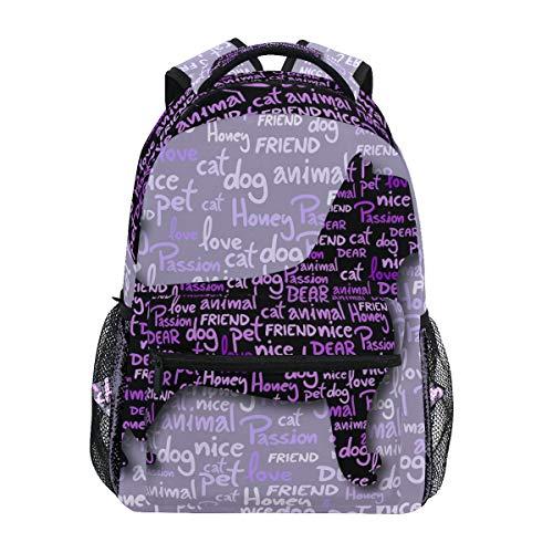Stilvolle süße lila Hund Schule Rucksack für Jungen Mädchen Kinder Reisetasche Bookbag -