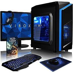 "VIBOX Killstreak SA4-41 Komplett-PC Paket Gaming PC - 3,9GHz AMD A4 Dual-Core APU, Desktop Gamer Computer mit Spielgutschein, 22"" HD Monitor, Gamer Tastatur & Mouse, Blau Innenbeleuchtung, lebenslange Garantie* (3,7GHz (3,9GHz Turbo) superschneller AMD A4-6300 Dual-Core-APU / CPU-Prozessor, 4GB DDR3 1600MHz RAM, 1TB (1000GB) SATA III HDD 7200rpm Festplatte, 400W 85+ Netzteil, CIT F3 Blau Gaming Geh§use, Asrock FM2+ A68M Mainboard, Ohne Windows Betriebssystem)"