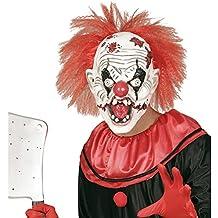 NET TOYS Careta terrorífica de Payaso Máscara bufón Loco con Pelo Antifaz arlequín Halloween Mascarilla látex