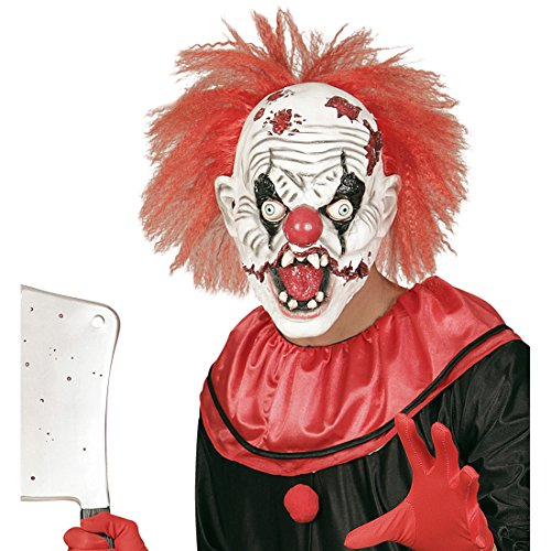 wn Maske Psycho Clownsmaske mit Haaren Clownmaske Halloween Latexmaske ES Halloweenmaske Horrormaske Gruselmaske Horrorclown Kostüm (Gruselige Psycho Clown Kostüm)