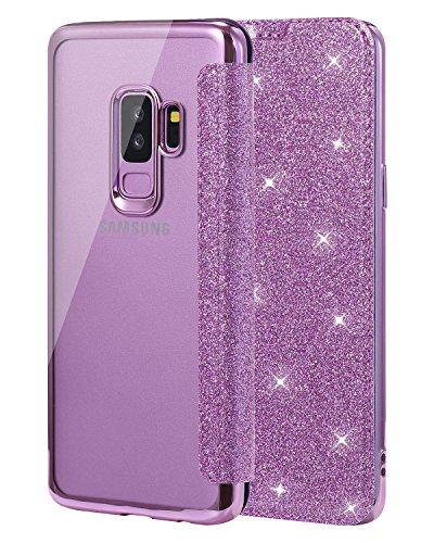 Snewill Compatible Galaxy S9 Plus Hülle,Galaxy S9 Plus Case, Glitter Shiny Bling Slim PU Leather Folio Flip Handyhülle with Card Slot Schutzhülle für Samsung Galaxy S9 Plus -Purple -