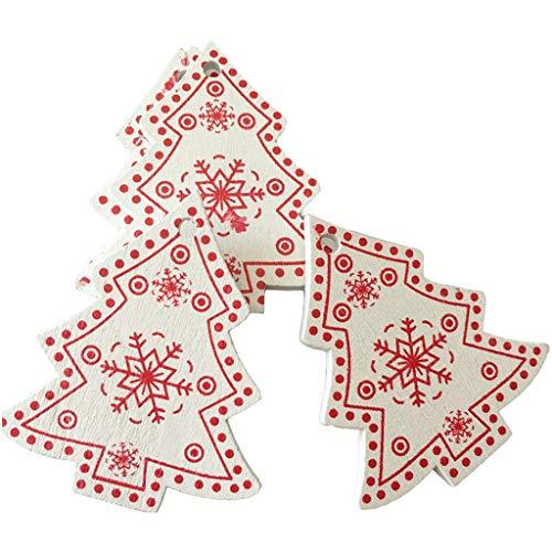 Dabixx 10 pezzi di legno naturale ornamenti di natale ciondolo appeso regalo albero di natale decorazioni 5cm 3
