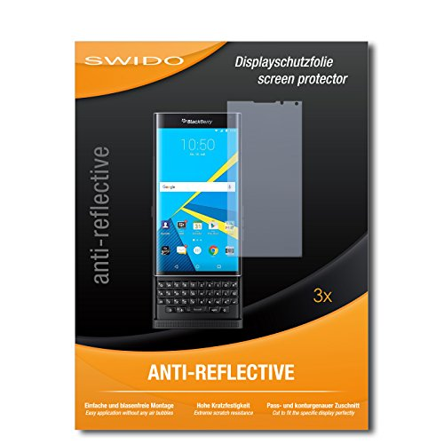 SWIDO Bildschirmschutzfolie für BlackBerry Priv [3 Stück] Anti-Reflex MATT Entspiegelnd, Extrem Kratzfest, Schutz vor Kratzer/Bildschirmschutz, Schutzfolie, Panzerfolie