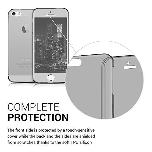 kwmobile Housse cristal 360 degrès pour Apple iPhone SE / 5 / 5S case silicone TPU en Design deux couleurs .noir