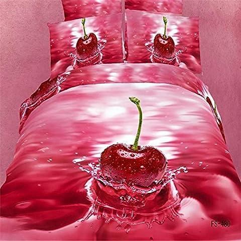 3D Bogen Baumwolle twill vier Set-Cover-Set von 4-Bett-G?ttin Blume Kirsche , cherry , 200*230cm