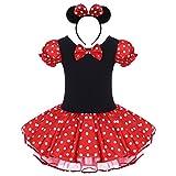 OBEEII Babykleid Prinzessin Polka Dots Party Kleid Baby Mädchen Kostüm Halloween Fasching Karneval Cosplay mit Haarreif Maus Ohre 4-5 Jahre Rot