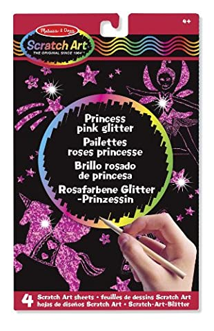 Melissa & Doug Scratch Art: Princess Pink Glitter Board - 4 Scratch Art Boards