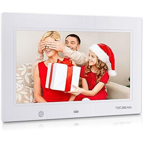 TEC.BEAN 10.1 Pulgadas HD Marco Digital Fotográfico de con Incorporada Tarjeta de 16G, Detección de Movimiento, MP3 & Reproductor de Vídeo (Blanco)