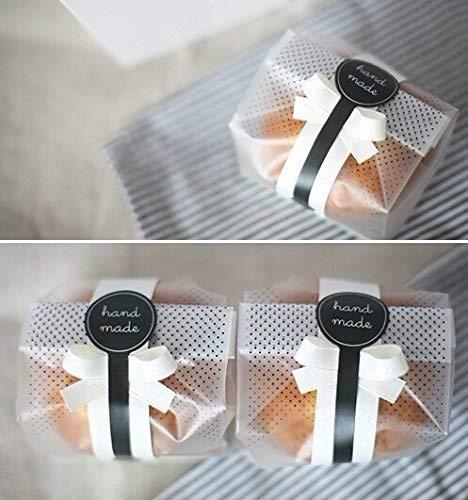 Yunko Kunststoff-Taschen für Kekse, Kuchen, Schokolade, Süßigkeiten, Snacks, mit Aufkleber, durchsichtig, 100Stück