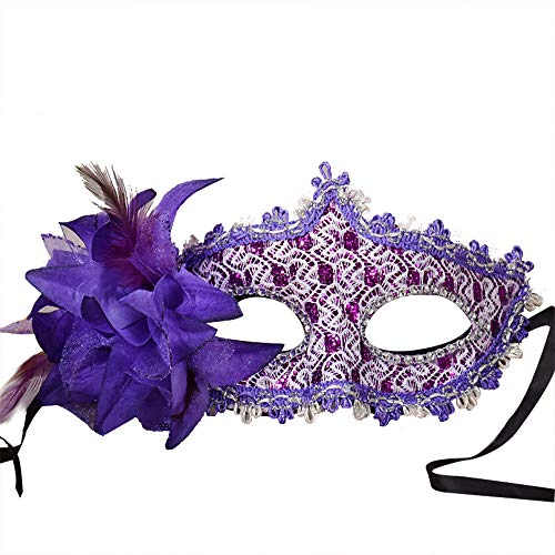 Gras Kostüm Mardi Einfach - Maskenball Masken Damen, QHJ Kostüm Maske Gras Flower Diamond Masquerade Halloween für Party, Prom, Mardi Lace Weihnachtsfeier, Karneval, Cosplay-Party (D)