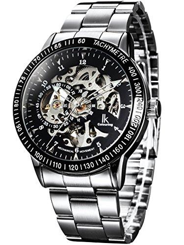 Alienwork IK mechanische Herren Edelstahl Automatik Armbanduhr, Uhr Ø 42mm, Metallarmband Skelett Herrenuhr mit analogem Zifferblatt, edel und sportlich in...