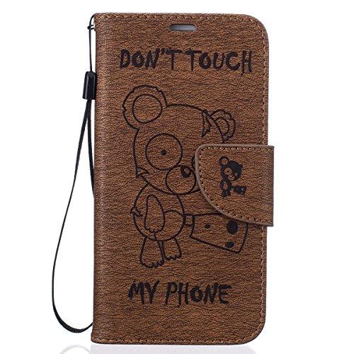 ISAKEN Kompatibel mit Galaxy S6 Edge Hülle, PU Leder Flip Cover Geldbörse Wallet Case Handyhülle Tasche Schutzhülle Etui mit Handschlaufe Strap für Samsung Galaxy S6 Edge - Bär Text Braun -
