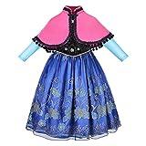 NNDOLL Carnevale Costume Regina delle Nevi Anna Vestito Bimba Travestimento 807 (130/ 4-5 Anni)